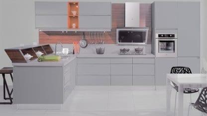 European kitchen luxury lacquer ash